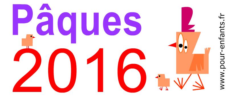Paques 2016 à imprimer Dessin de la date de Pâques Image de poule poussins