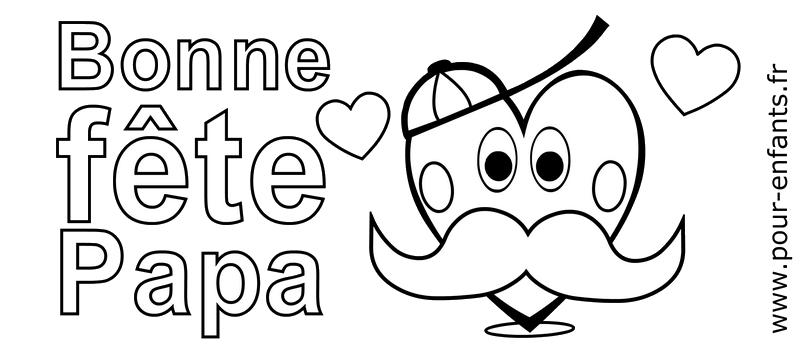 Fête des pères 2016 Coloriage moustaches coeurs d'amour à imprimer pour FETER un papa moustachu