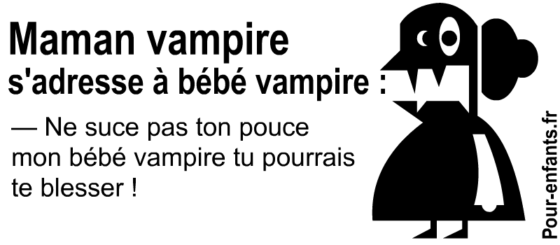 Blague d'Halloween courte, simple, facile, correcte. Maman vampire et bébé vampire.
