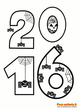 2016 à imprimer en grands chiffres pour Halloween. Coloriage pour enfants.
