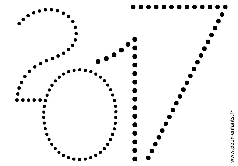 2017 à imprimer. Dessin pour enfants. Point à point ou points à relier. Jeux de coloriages sur les dates.