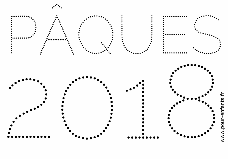 Pâques 2018 à imprimer pour faire un coloriage point à points. Activités sur la date de Pâques.