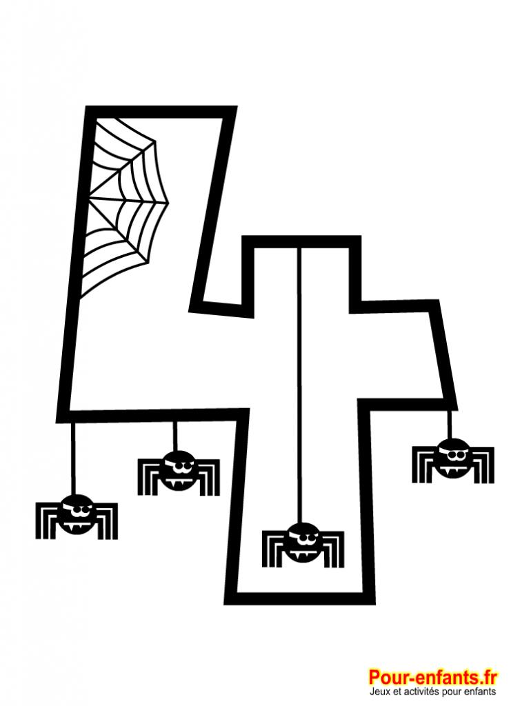 Chiffre halloween 4 a imprimer charades jeux blagues devinettes coloriages pour enfants - Dessin de chiffre ...