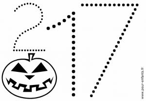 Halloween 2017 date a imprimer avec dessin en pointillés. Classes de maternelle.