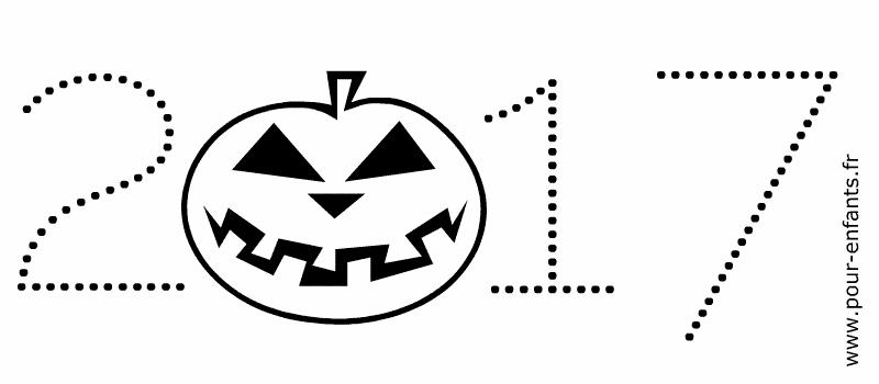 Halloween 2017 date a imprimer avec dessin en pointillés. Enfants de maternelle.