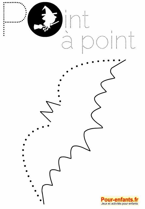 Coloriage point à point Halloween à imprimer. Dessin de chauve-souris en pointillés. Points à relier faciles.