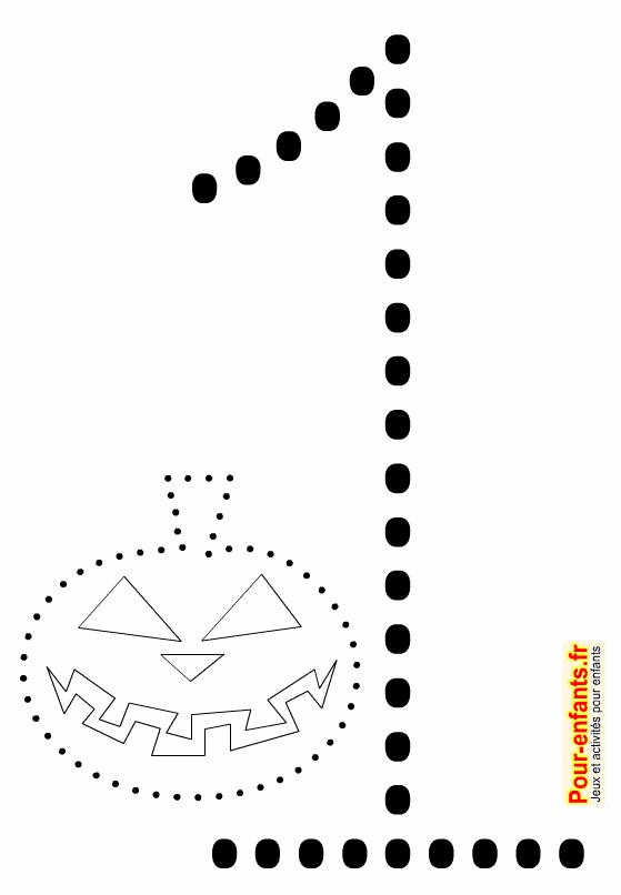 Point à point Halloween à imprimer. Dessin de citrouille en pointillés à relier. Chiffre 1 en grand.