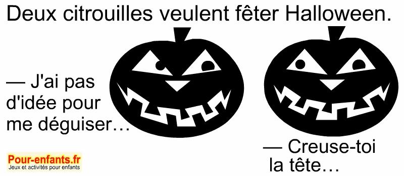 Blague d'Halloween enfants à imprimer. Dessins de citrouilles.