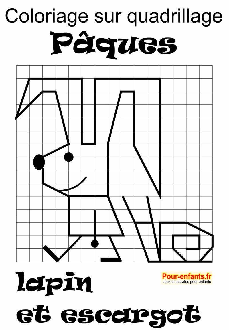 Pâques Coloriage sur quadrillge dessins de lapin et escargot à imprimer