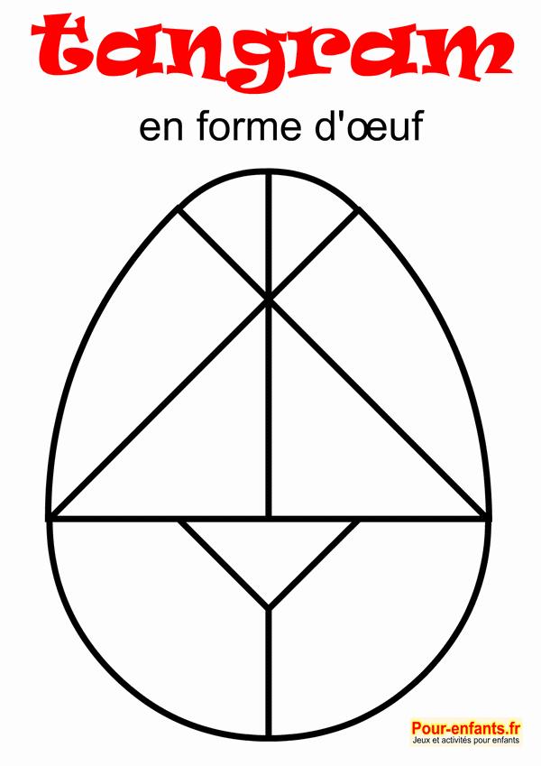 tangram oeuf de Pâques à imprimer en noir et blanc. Dessin au trait. Pour enfants.