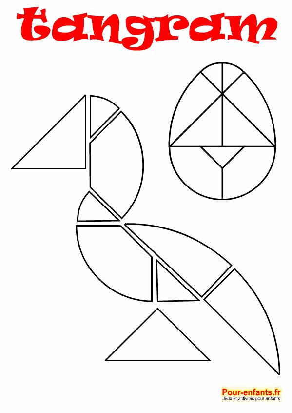 tangram oeuf de Pâques et oiseau à imprimer en noir et blanc. Dessin au trait. Pour enfants.