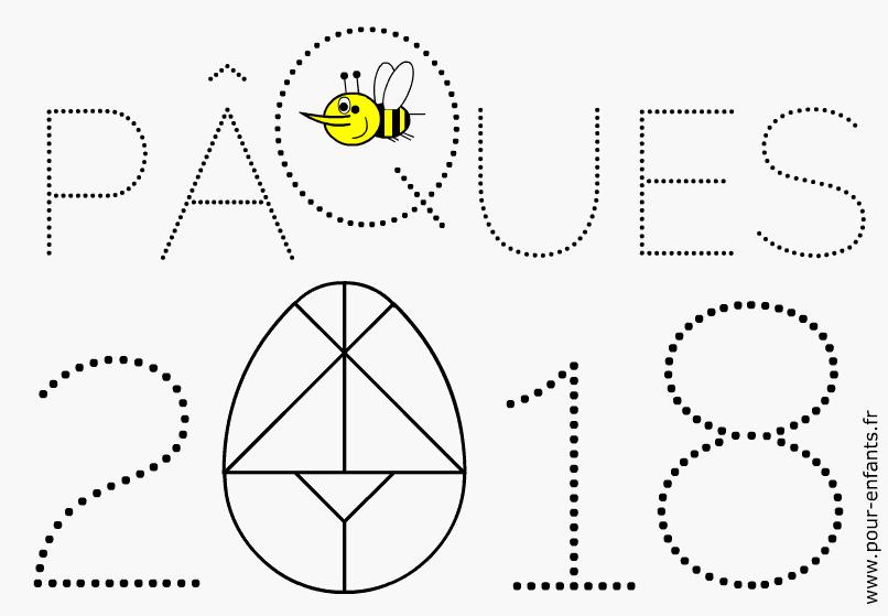 paques 2018 date coloriage dessin à imprimer tangram d'oeuf de Pâques à colorier maternelle