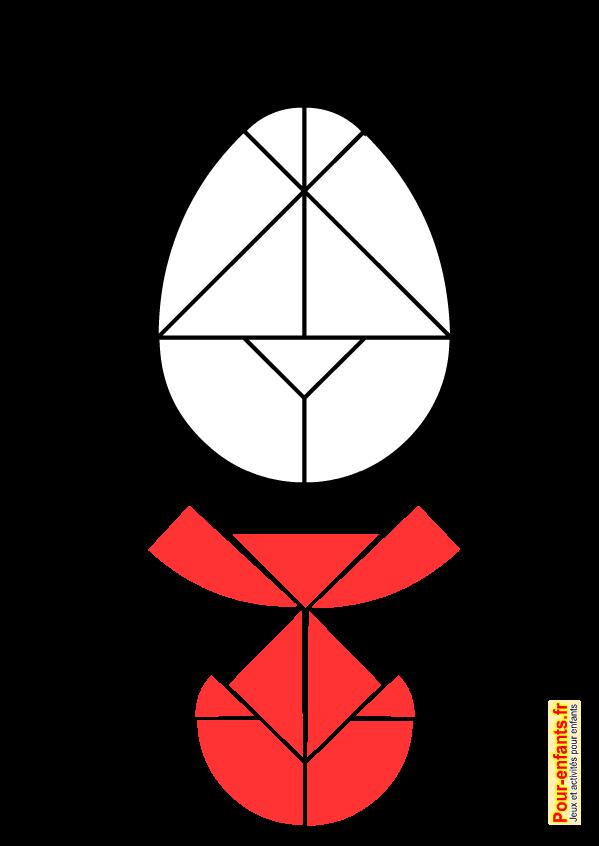 Modèle de tangram à imprimer en forme d'oeuf de paques enfants de maternelle classes élémentaires