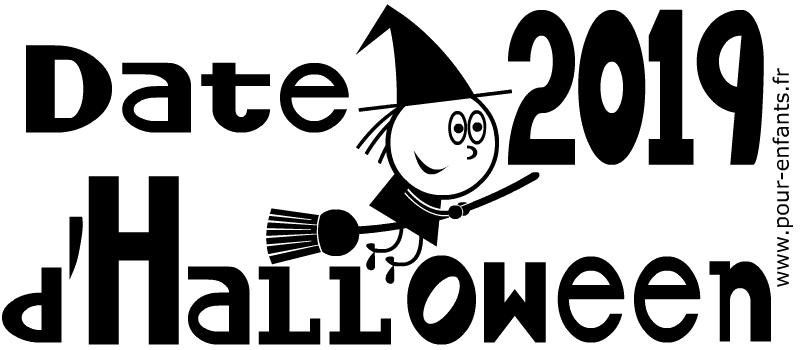 Date Halloween 2019 à imprimer. Pour illustrer l'arrivée d'Halloween.