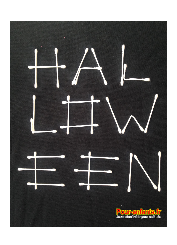 Halloween cotons tiges activités bricolage pour enfants