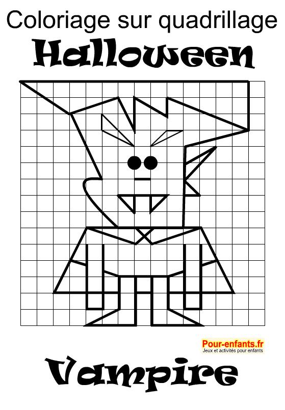 Vampire à imprimer pour faire un coloriage d'Halloween enfants. Dessin sur quadrillage. Halloween.