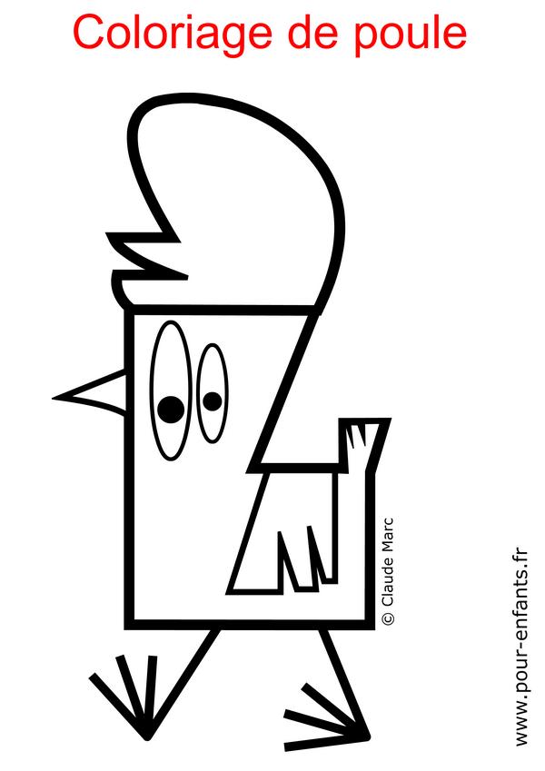 Coloriage de poule à imprimer gratuit