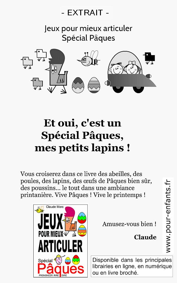 Jeux pour mieux articuler spécial Pâques Claude Marc