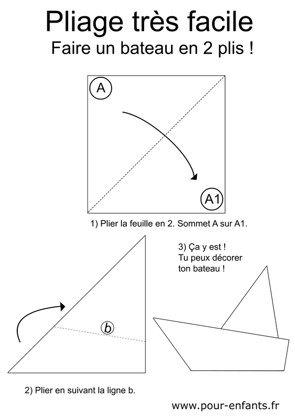 Pliage de bateau facile à imprimer pour enfant maternelle ps