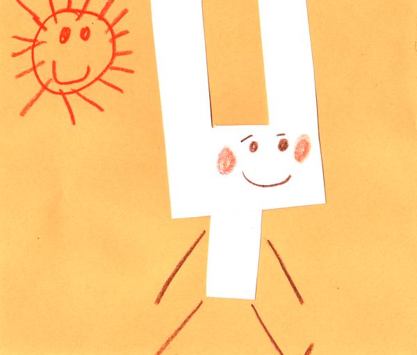 Découpage pliage collage maternelle facile. Dessin de lapin qui marche.
