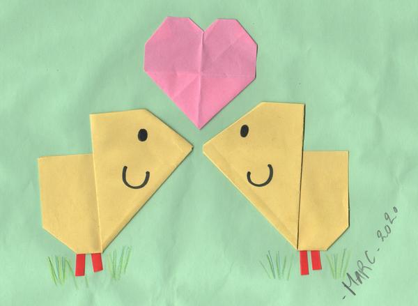 Origamis de poussin kawaii maternelle dessin mignon