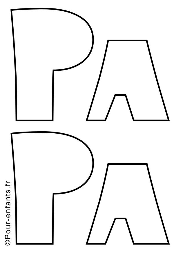 Fête des pères. Dessin de papa à imprimer. Bricolage pour papa.