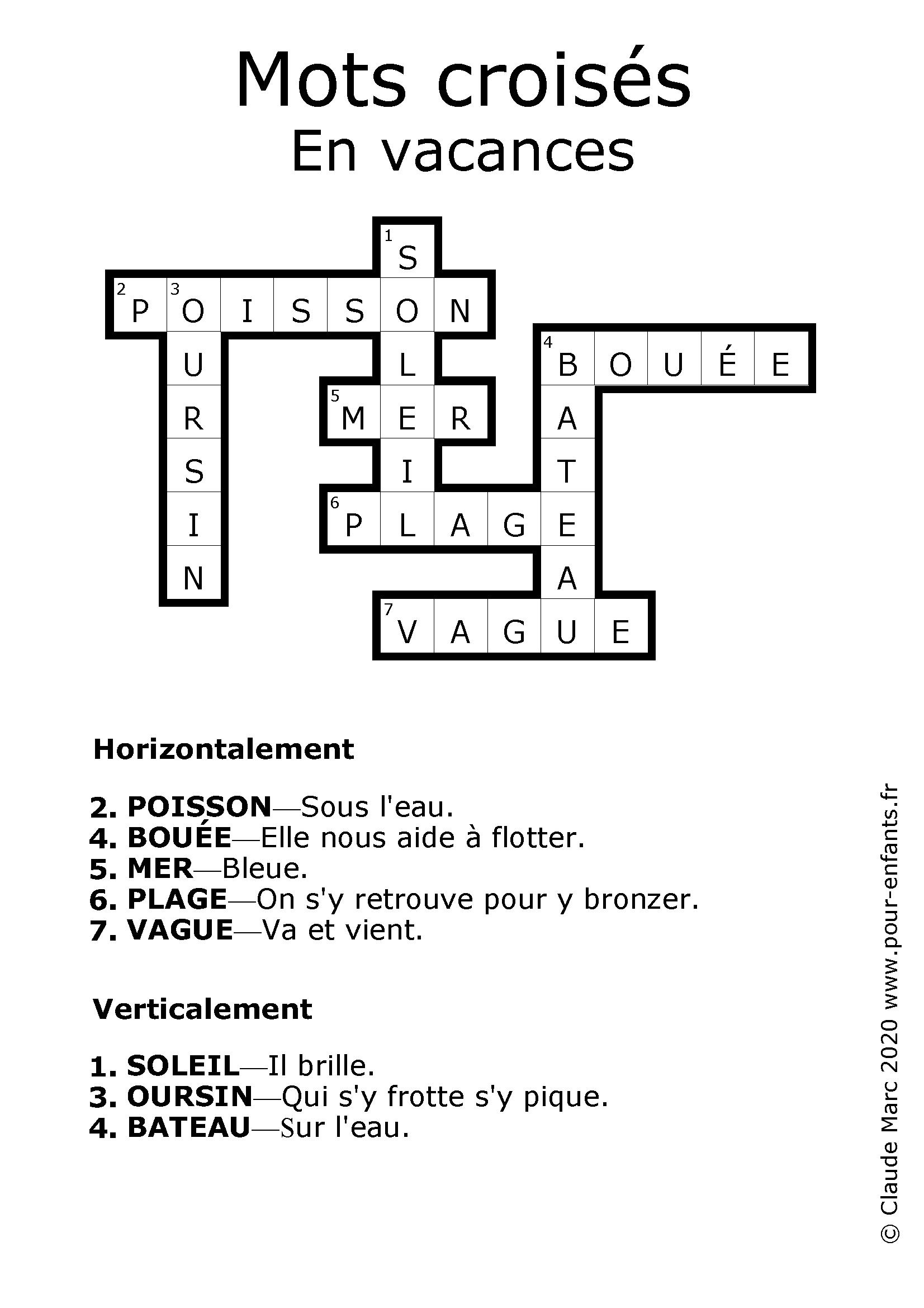 Jeux de mots croisés pour enfants à imprimer. Les vacances. Solution de la grille.