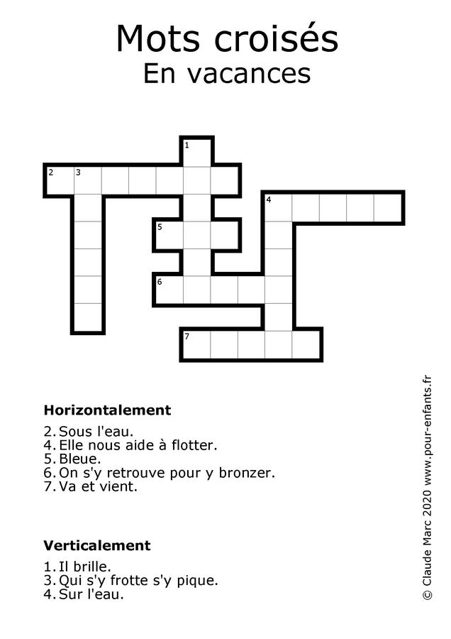 Jeux de mots croisés pour enfants à imprimer. Les vacances.