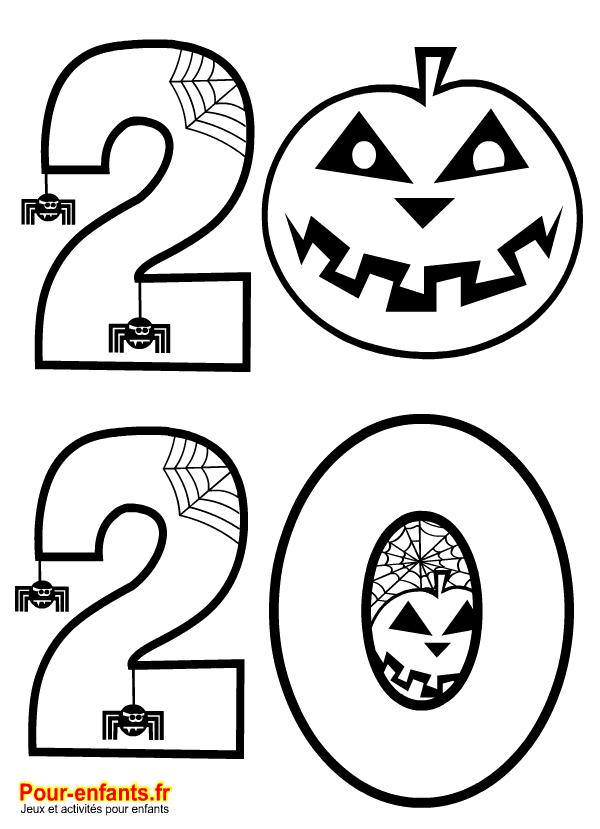 Halloween 2020 à imprimer. Dessin pour coloriage sur la date.