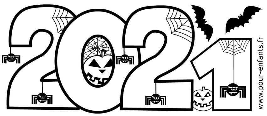 Halloween 2021 à imprimer. Dessin pour coloriage sur la date.