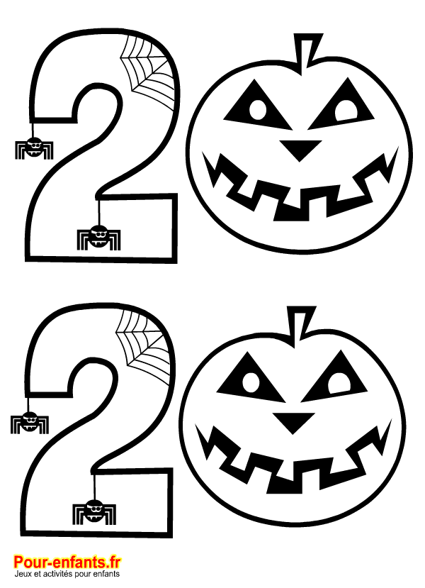 Halloween 2020. Date à imprimer. Dessin pour coloriage de citrouilles et chiffres.