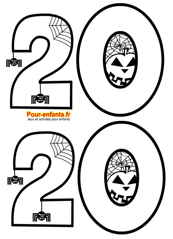 Halloween 2020 à imprimer. Dessin pour coloriage sur le thème de la date.