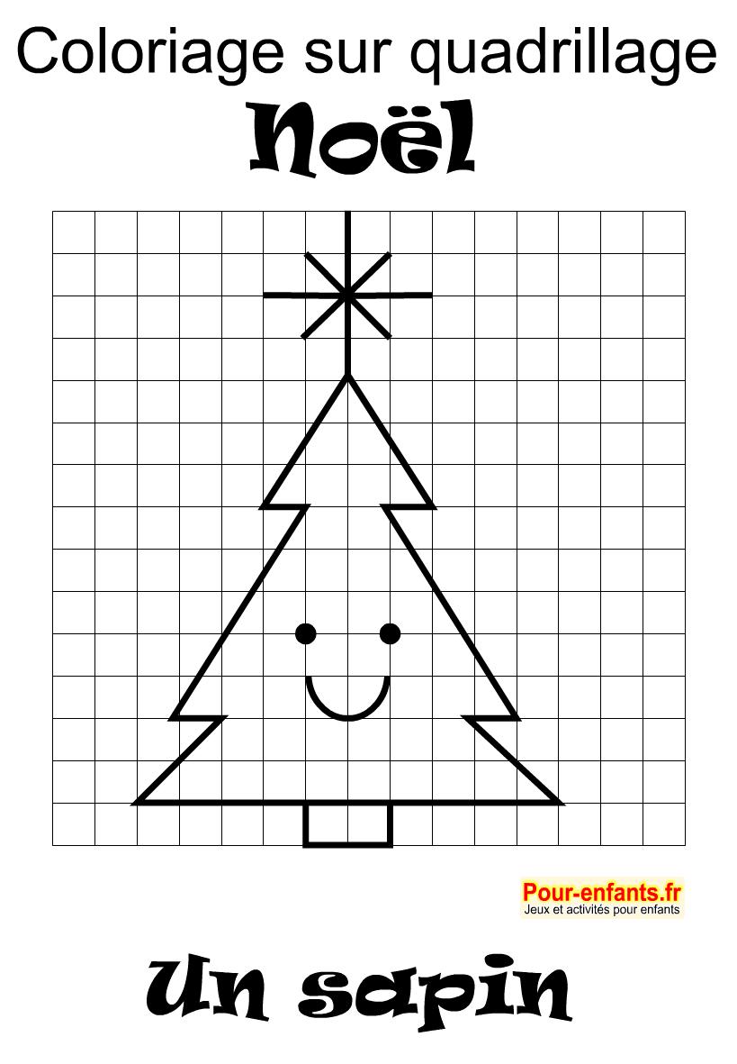 Coloriage sur quadrillage facile. Un sapin de Noël. avec étoile.