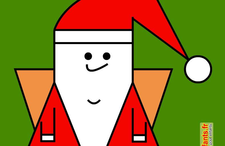 Coloriages sur quadrillage de Noël. Le père Noël. Papa Noël.