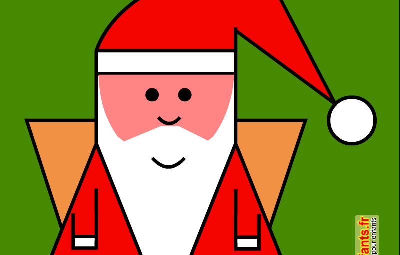 Coloriage sur quadrillage à imprimer. Le père Noël. Papa Noël.