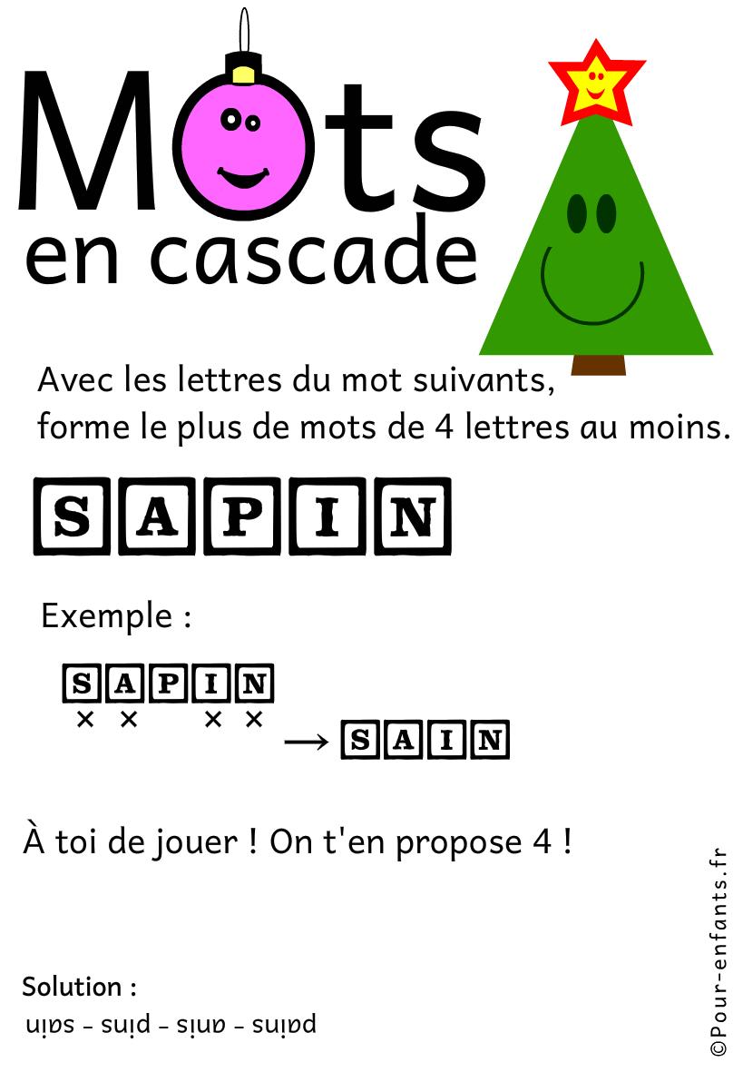 Jeux de lettres et jeux de mots pour noel. Mots en cascade. Sapin.