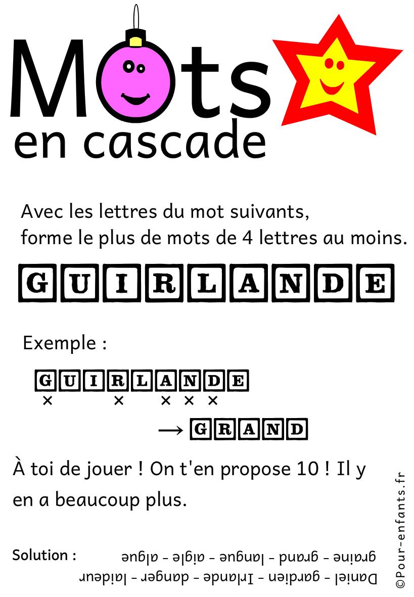 Jeux de lettres et jeux de mots pour noel. Mots en cascade. Guirlande.