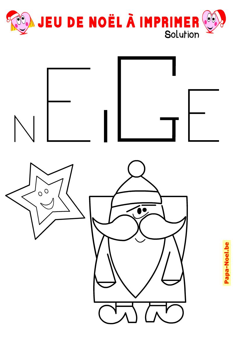 Jeu de mot NOEL à imprimer. Solution : neige. Avec dessin dessin de père Noël à colorier.