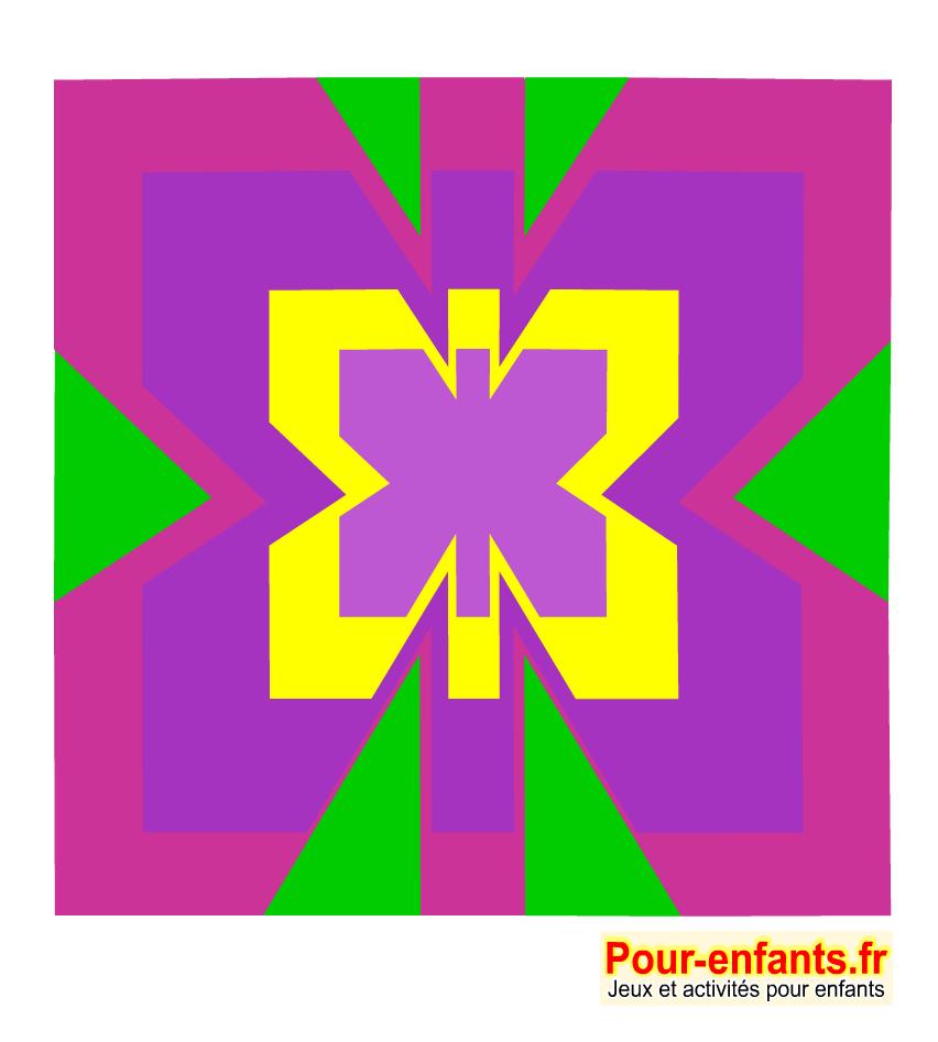Coloriage sur quadrillage de papillon. Reproduction. Activités. Symétrie.Dessin géométrique.