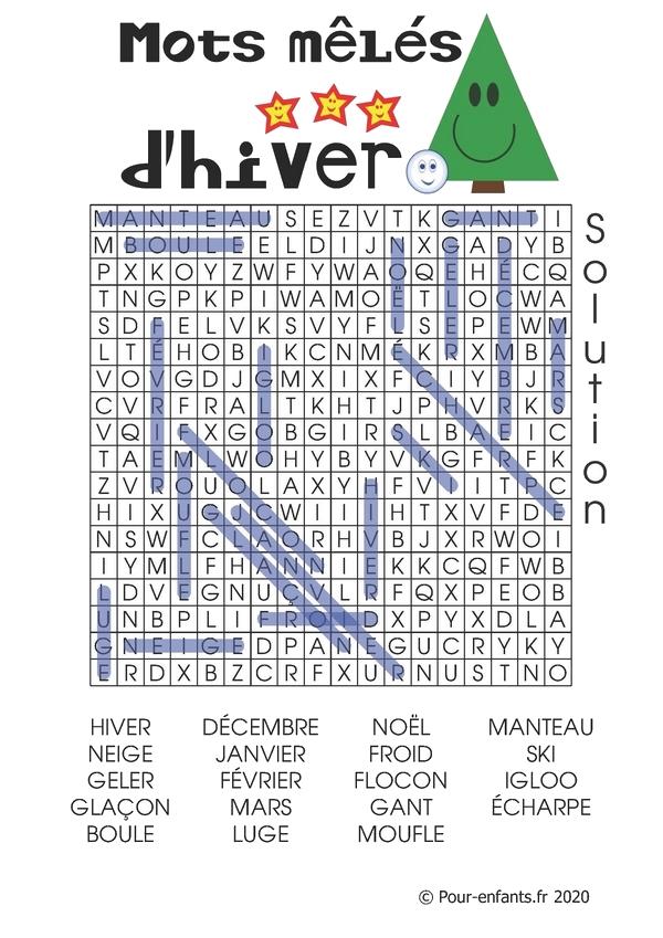 Mots mêlés ou cachés pour enfants à imprimer. Thème : l'hiver. Solution.