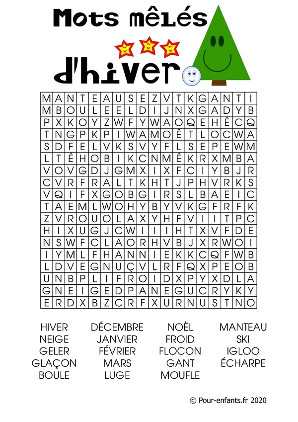 Mots mêlés ou cachés pour enfants à imprimer. Thème : l'hiver.