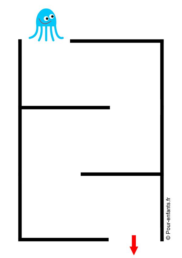 Labyrinthes faciles pour enfants de maternelle fiches à imprimer