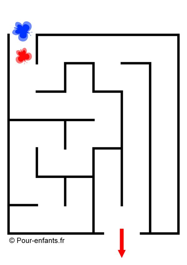 Labyrinthes faciles pour enfants maternelle à imprimer printemps