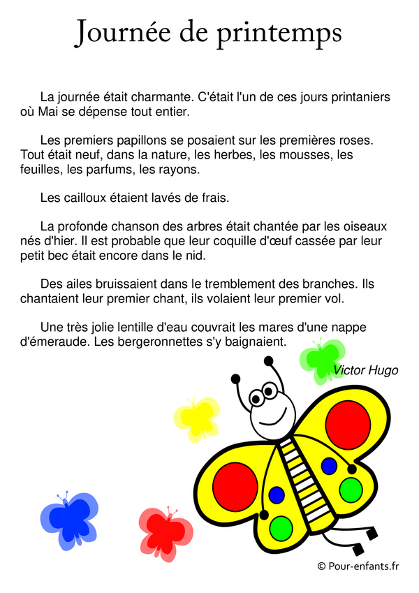 poème de printemps Victor Hugo à imprimer