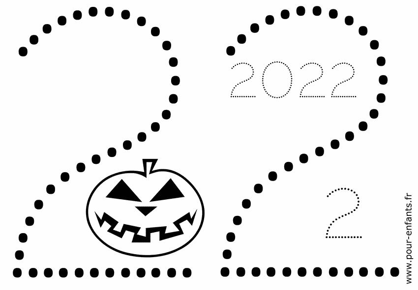 Date Halloween 2022 à imprimer. Chiffres en pointillés.
