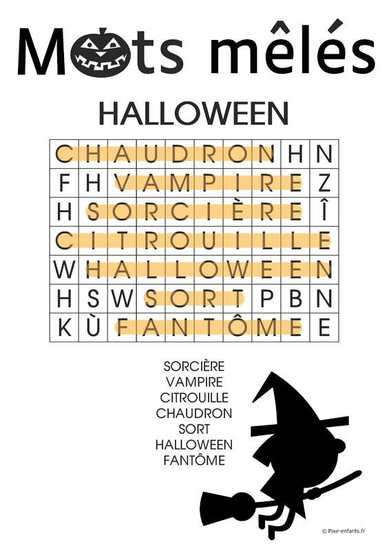 Mots mêlés Halloween à imprimer. Gratuit. Pour enfants. Jeu faciles. Solution.
