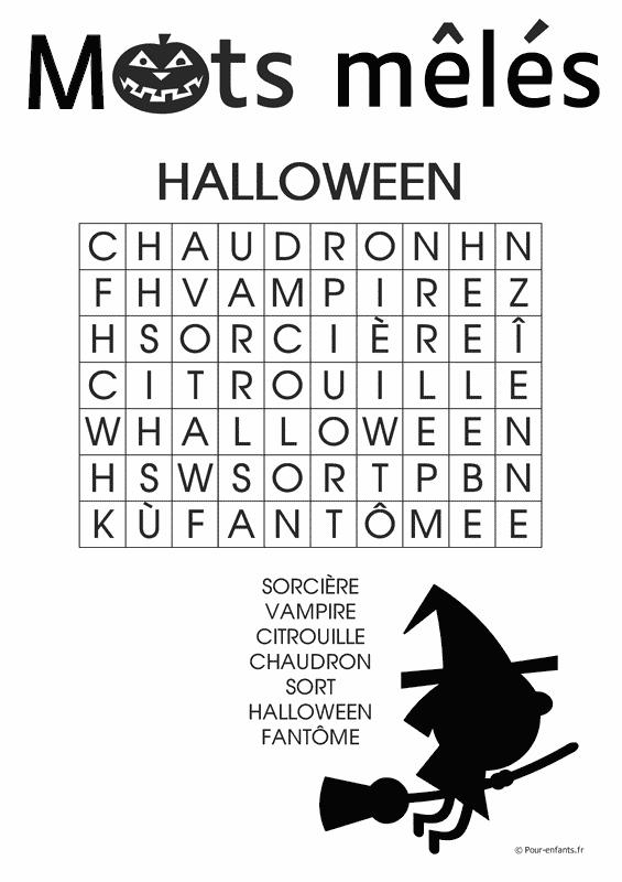 Mots mêlés Halloween à imprimer. Gratuit. Pour enfants. Faciles.