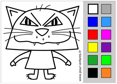 Coloriage d'Halloween en ligne. Chat. Coloriage tactile.