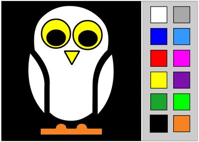 Coloriage d'Halloween en ligne. Chouette. Coloriage tactile.