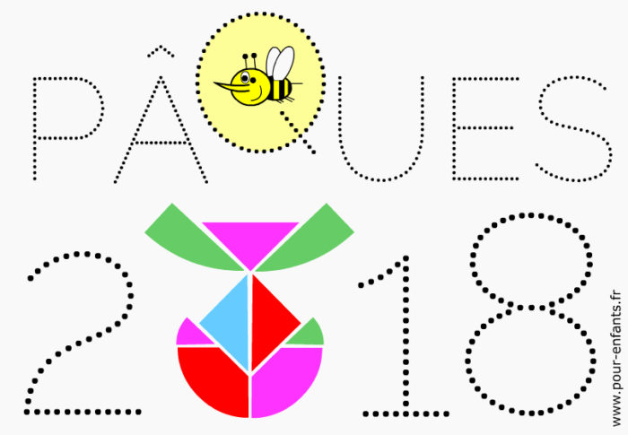 Paques 2018 Date Coloriage Modele Tangram Oeuf Chiffres En